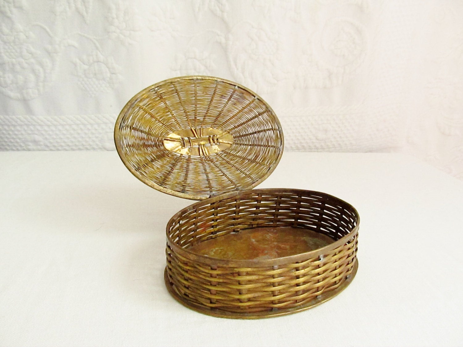 Woven Basket With Hinged Lid : Woven brass basket oval hinged lid treasure box