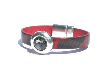 Red and Black Leather Bracelet with Black Diamond Swarovski Crystal rocker glam chic cosmic space antique silver magnetic closure clasp
