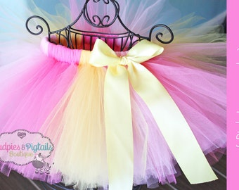 Baby tutu { Pink Lemonade} Yellow, Bubblegum pink, Pink Spring, First Birthday Tutu, Circus, Cake Smash photography prop Ready to ship