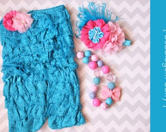 Lace Romper 3pc set { Bubblegum Berry } Turquoise, hot pink, chunky necklace, Cake Smash, Summer First birthday, beach photography prop