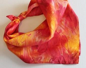 Hand Painted Silk Square Scarf - Hand Dyed Bandana Orange Yellow Red Cherry Gold Sun Tangerine Fire Bright