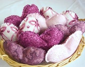8 Fabric Hearts, Mauve, berry fabric heart bowl fillers, home decor, bowl fillers, home decoration