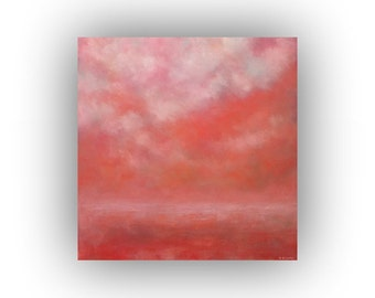 Pink and White Oil Painting- Cloudy Sky and Field Abstract Landscape- Original 24 x 24 Palette Knife Art on Canvas