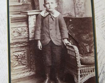 Boy PHOTO in Sunday Best-Sepia Toned Photo- Cute Child Cabinet Card- Burlington Iowa