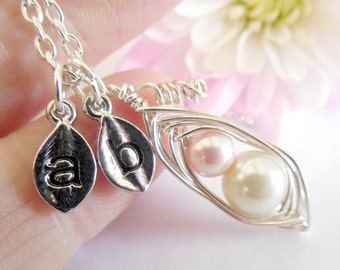 Pea Pod Necklace Pregnancy Shower Mother Son Daughter  Two Wire Wrapped with Pearls Customized with Initial Leaf Charms