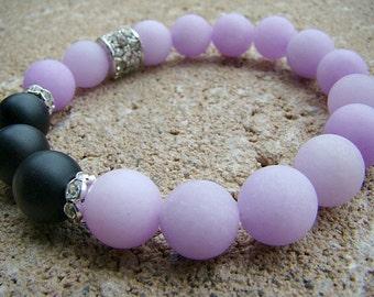 Gemstone Bracelet, Beaded Bracelet, Beaded Stretch Bracelet, Stacking Bracelet, Purple, Stone Jewelry, Black, Gemstone Stacking Bracelet