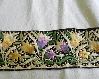 Art Deco LAVENDER & GOLD LILY Embroidered Trim on Black Satin, Detailed Ecru Flowers Green Leaves, Pillows Purses Clothing Lampshades 1930 2