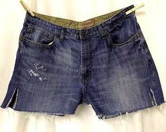 Destroyed Jean Shorts Wrangler Plus Sized Distressed size 16 18 Cut offs Boho Hippie