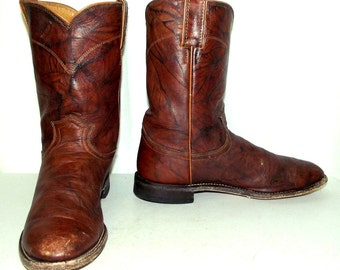 Brown Roper style Justin Brand Cowboy Boots mens size 9 D / womens 10.5 to 11