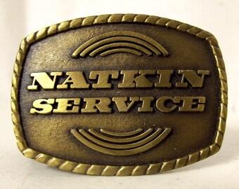 Vintage Natkin Service Belt Buckle HVAC Heating and Air tech advertisement