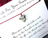 A Wish For Your Guardian Angel - Wish Bracelet With Heart & Wings Charm - Shown In CHERRY - Over 100 Different Colors Are Also Available