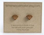 Diamond Earrings - alder laser cut wood earrings
