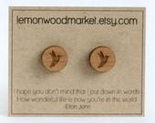 Hummingbird earrings - alder laser cut wood earrings