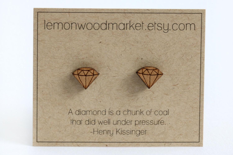 Diamond Earrings Alder Laser Cut Wood Earrings