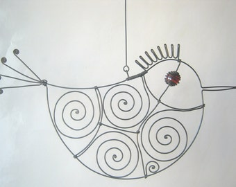 Bird Art  Sculpture / Red - Eyed Wire Bird