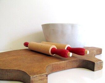 Vintage Pair of Rolling Pins Children's Toy Wood Rolling Pins Red Handles Childs Toy Kitchen