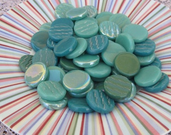 Teal Mix Round Flat Gems Circle Glass Tiles For Mosaics Jewelry Teal Mix Glass Gems For Mosaics Jewelry or Crafts 16-18mm Round