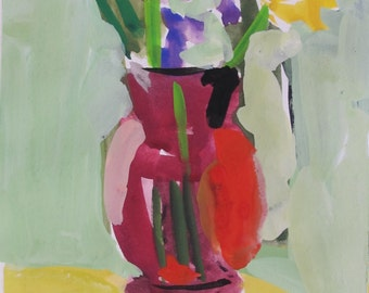 gouache - water color - still life painting - abstract - realism - stylized painting, - red vase - zinnias - floral watercolor - Linda Hunt