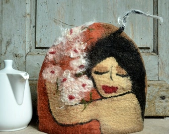 Made to Order Felt Tea cozy Handmade Felted cozy teapot cosy Wool teapot cosy art cozy gift for tea drinker tea warmer, contemporary cozy