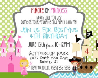 Pirate Princess - Birthday Party Invitation