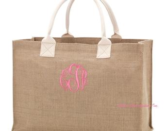 Burlap tote bag , burlap bag, bridesmaid bags , rustic wedding, bridesmaid gift , monogrammed gifts, LARGE TOTE