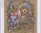 Grown up Adult Coloring Book Pages - Digital Download - Colored Pencils Gel Pens - You Print on Your Quality Paper - Owl - Girl - Friendship