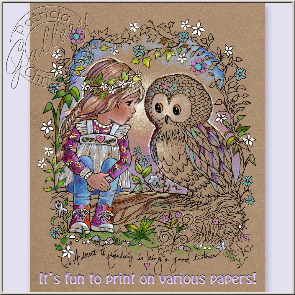 How to color grown up coloring books - Coloring Book Pages Owl Digital Download Jpg Files Colored Pencils Gel Pens You Print On Your Quality Paper Girl Friendship