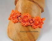 Orange Micro Macrame Bracelet Summer Tangerine