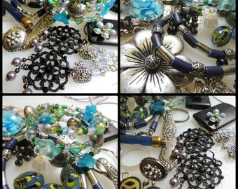 Jewelry Destash Lot Beads Findings Connectors Earrings Necklace Repurpose Pieces and Parts For Jewelry Making