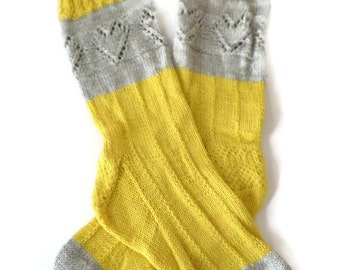 Socks - Hand Knit Women's Gray and Yellow Patterned Socks - Size 7-8