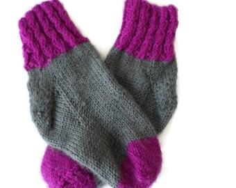Baby Socks - Hand Knit Gray and Magenta Baby Socks