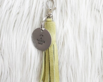 lime suede tassel keychain + personalized tag