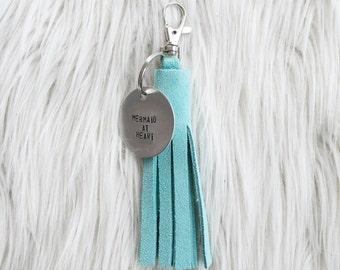 aqua suede tassel keychain + personalized tag
