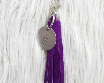 violet suede tassel keychain + personalized tag