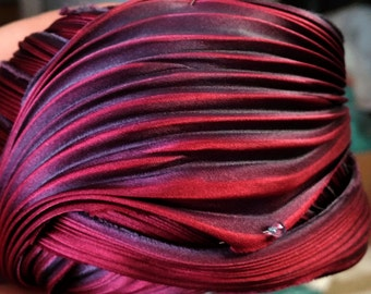Shibori Ribbon Hand Dyed Silk Ribbon Hot Lava Shibori Silk Ribbon