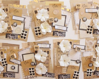 Oh Snap ! Rubber Stamp / Mixed Paper Artistic Kit / Kraft / Black & White / Heart Stickers / Silk Flowers / Vintage Bingo Card / Buttons