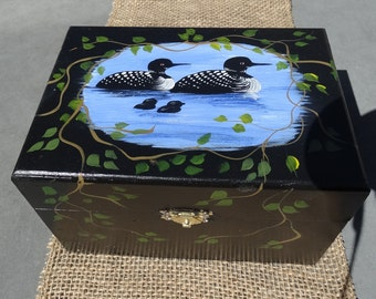 Wooden Recipe box  3x5 or 4x6 Hand Painted with Family of Loons on the water, at a lake, with crawling vines