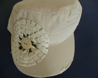 Khaki Tan  Military  Cadet Style Hat with  All Natural Embellisment  Center is Natural and Dark Brown with Natural color Buton