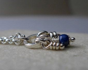 Lapis Lazuli Pendant, Sterling Silver, Rustic Organic Knots Necklace, Flora Pendant