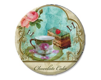 "Pocket Mirror, Magnet or Pinback Button - Wedding Favors, Party themes - 2.25""- Chocolate Cake MR156"