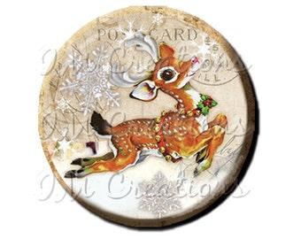 "Pocket Mirror, Magnet or Pinback Button - Favors - 2.25""- Vintage Christmas Dashing Reindeer MR302"