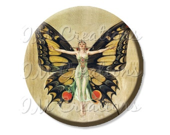 "Pocket Mirror, Magnet or Pinback Button - Wedding Favors, Party themes - 2.25""- Vintage Retro Butterfly MR353"