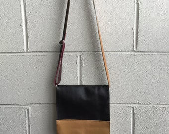 Color block small messenger cow hide leather bag - made in Montreal, Canada