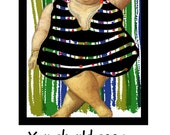Note Card, Heavy Lady, Bright, Colorful, Humor, Weight