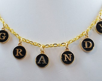 GRANDY Necklace in Black Letter Pendants with Gold Chain