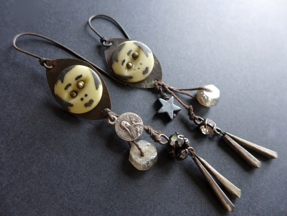 Ubuntu, because of who we are. Grey dangle earrings with face buttons, labradorite, medal.