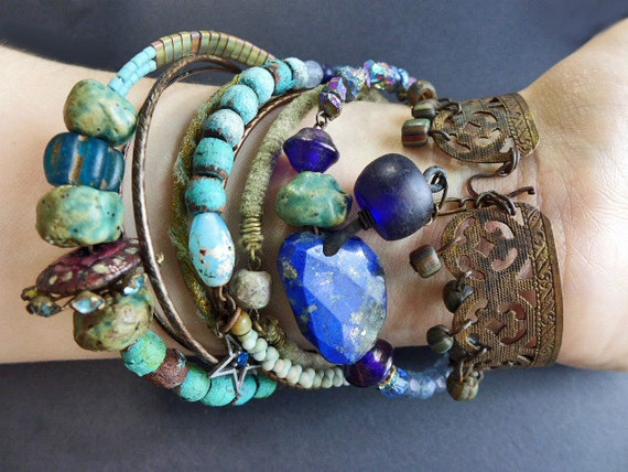 Oceanic 2. Bangle stack. Rustic tribal gypsy bracelet set with cuff in blues and greens.