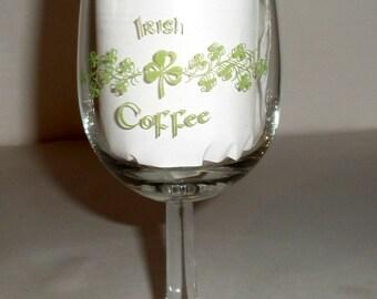 Vintage Irish Coffee Stemmed Glass - Wine Glass - 4 Leaf Clovers - Irish Glass - Drinking Glass - Irish Green Clover Glass