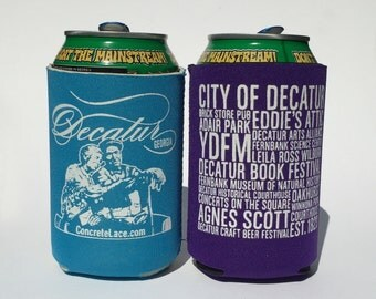 Decatur Beer Cozy- Atlanta Neighborhood- Sky Blue or Agnes Scott Purple