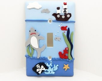 Pirate Light Switch Cover or Outlet Cover - Nautical Themed Room - Under the Sea Light Switch - Boys Pirate Room - Toggle or Rocker Cover